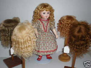 PERRUQUE en MOHAIR pour POUPEE ancienne  -DOLL WIG -T1 (18 cm) Made in France