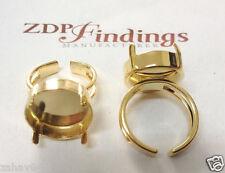 2Pcs x 18mm Round Gold Plated Ring Bezel Setting fit Rivoli 1122 (RD18RIRGGP)