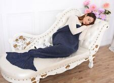 MERMAID TAIL SOFA BLANKET WARM CROCHETED KNIT LAPGHAN CREWEL COVERLET NAVY BLUE