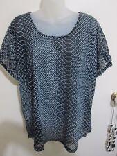 KATIES  size 18 (L)   Lovely Black White Semi Sheer Net s/Sleeved POLYESTER Top