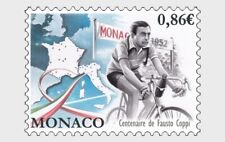 Cycling Fausto Coppi Centenary mnh stamp 2019 Monaco Bicycle Map