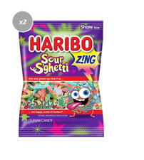 906096 2 x 142g PACKETS OF HARIBO SOUR S'GHETTI SPAGHETTI SHARE SIZE PACKET