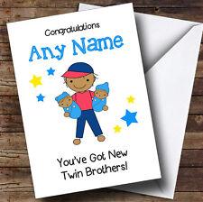 Asiatico BIG BROTHER NEW BABY TWIN FRATELLI Ragazzi Personalizzato Sibling CARD