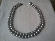 Vintage Pearl Necklace Beads Double Strand Gray Costume Made In Japan
