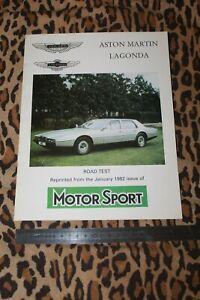 (MB1c) Catalogue Brochure ASTON MARTIN Lagonda Reprint Motor Sport