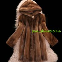 5XL 6XL Women Mink Fur Coat Hooded Overcoat Jacket Winter Warm Outwear Mid Long