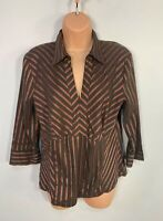 WOMENS NEXT SIZE UK 14 BROWN STRIPE V NECK SMART/CASUAL SLEEVE BLOUSE SHIRT TOP