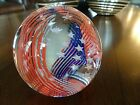 """Vintage Caithness Glass Scotland """"Stars & Stripes"""" Paperweight Red White & Blue"""