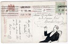# 1908 LONDON EC MACHINE CANCEL PPC PEN & INK GENTLEMAN SMOKING ILLUSTRATION