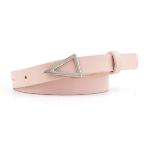 Women Solid Skinny Dress Waist Belt Thin PU Leather Silver Alloy Triangle Buckle
