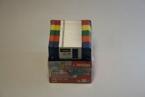 """Imation 3.5"""" Floppy Diskettes 1.44MB IBM Formatted 2HD 30 Pack Rainbow Colors"""