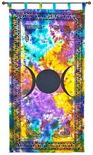Triple Moon Goddess Celtic TIE DYE Hippie Wall Hanging TAPESTRY Window Curtain