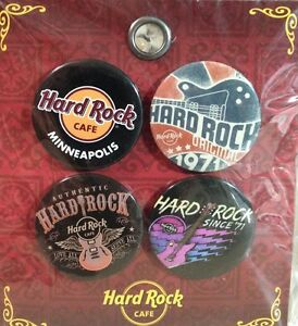 Hard Rock Cafe MINNEAPOLIS 2014 BUTTON 4 PIN Set on Card NEW ORIGINAL Since '71