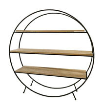 Round 3 Section Free Standing Unit Coated Black Metal Wood Rack Retro Shelves