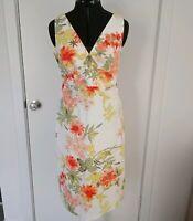 Motive Womens A Line Summer Dress Sleeveless Stretch Floral White Green Size 12
