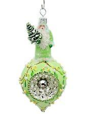 Patricia Breen Vintage Claus Mistletoe Jeweled Orb Reflector Christmas Ornament