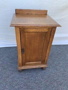 Antique Quartered Oak Wood End Side Table Cabinet Nightstand.