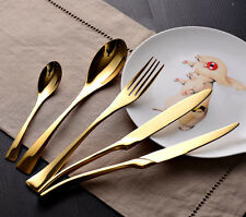 60 Pcs Stainless Steel Dinnerware Set Gold Cutlery Set w/ Steak Knives x 12