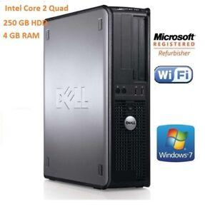 Fast Dell Desktop Tower Intel Core 2 Quad 250Gb 4 GB Ram Windows 7