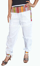 INDIAN BAGGY GYPSY HAREM PANTS YOGA MEN WOMEN WHITE MONEY BELT COTTON TROUSER
