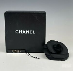 Chanel France Classic Black Silk Camellia Flower Designer Brooch Pin w Box BWA