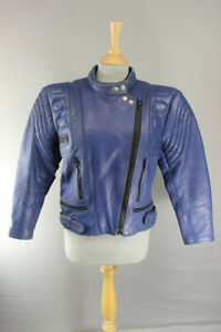 AKITO LADIES CLASSIC BLUE LEATHER BIKER JACKET: SIZE 16