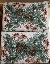 2 Christmas Holiday Decor Pillows Evergreen Branches Acorns Berries Free Ship