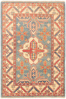 "Hand-knotted Afghan Carpet 3'2"" x 4'8"" Finest Gazni Traditional Wool Rug"