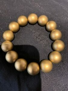 """Gold Colour Large Plastic Beaded Bracelet On Thin Elastic Approx 8"""""""