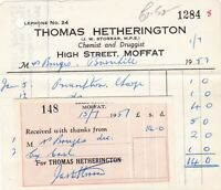 Thomas Hetherington 1957 Moffat Chemist and Druggist Invoice & Receipt Ref 41213