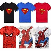 Spiderman Toddler Kids Boys Short Sleeve Summer T-shirts Tops Clothes Age 2-7