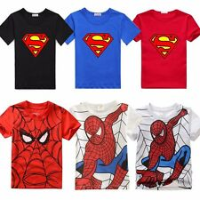 Superman Spiderman Toddler Kids Boys Short Sleeve T-shirt Tops Clothes Age 2-7