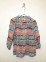 Womens Amour Vert Silk Blouse Pullover Size Medium V Neck 3/4 Sleeve Printed