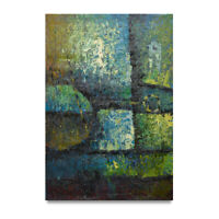 NY Art -  Blue & Green Modern Abstract 24x36 Original Oil Painting on Canvas