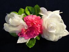 "Vintage  Millinery Flower Collection 2 -3"" White Rose Pink    H2216"