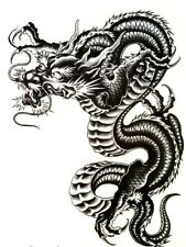 Dragon Temporary Black Tattoo - Body Art Stickers for Men and Women fake tattoos