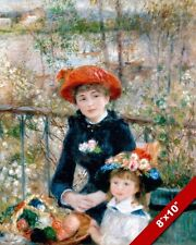 RENOIR 2 SISTERS GIRLS ON TERRACE FLOWERS PAINTING REAL CANVAS GICLEE 8X10PRINT