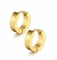 PAIR OF MENS LADIES STAINLESS STEEL 316 L HUGGIE HOOP GOLD COLOUR EARRINGS UK