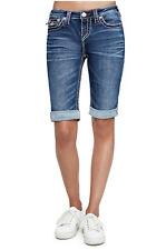 True Religion Women's Big T Bermuda Jean Shorts w/ Flap Pockets in Magnetic Lure