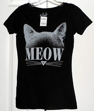 NEW! A.LAB by ZUMIEZ Black TEE w/ CAT in Gray & MEOW ~ Juniors XS / Bust to 29""