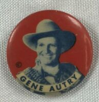 "Vintage GENE AUTRY Orvon Grover The Singing Cowboy 1¼"" Pinback Button Lapel Pin"