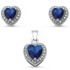 Blue Sapphire & Pave Cz Heart Shape .925 Sterling Silver Pendant & Earring Set