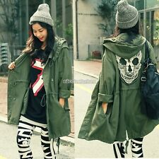 Women's Skull Back Military Coat Long Parka Spring Button Trench Hooded Jacket