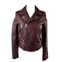 Authentic Saint Laurent Brown Leather Biker Women Jacket Size 36 FR