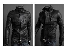 DE Herren Lederjacke Biker Men's Leather Jacket Coat Homme Veste En cuir N6ab1