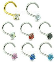 1pc. 20G 2mm - 2.5mm Round Prong Set CZ Screw Bone Surgical Steel Nose Ring Stud