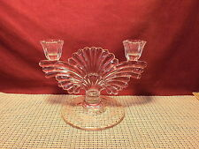 Vintage Paden City Glass Maya Clear Pattern Double Candle Holder