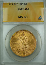 1922 $20 St. Gaudens Double Eagle Gold Coin ANACS MS-63 BS