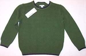 NWT Greendog Boy's LS Green Crewneck Knit Sweater, 4/4T