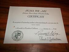 Sigma Phi MU Original Certificate Pasadena College 1960 Marian Pechota